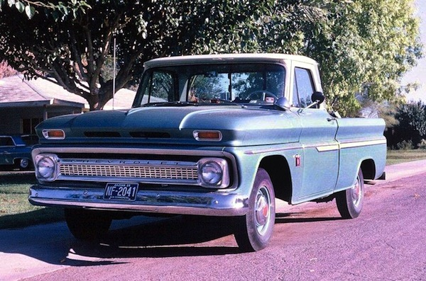 Blue, 1964 Chevy truck.