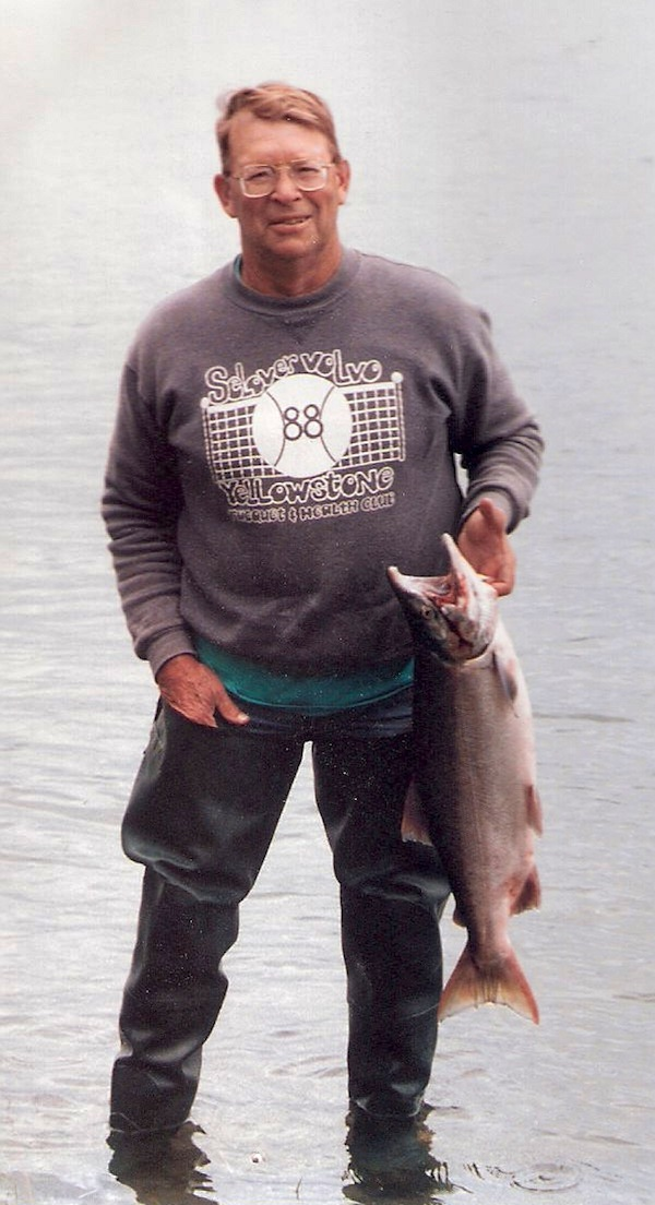Shelty with his catch.