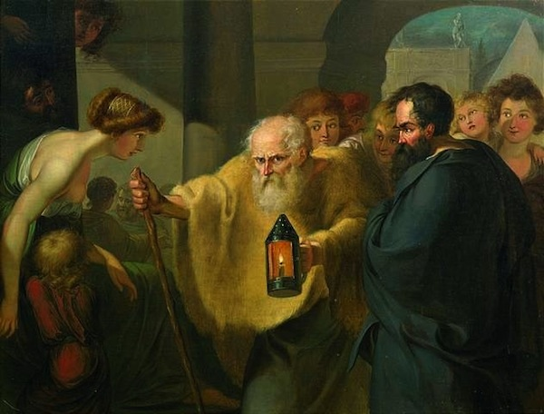 """""""Diogenes Looking for an Honest Man,"""" by JHW Tischbein."""