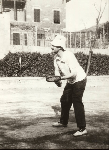 Ezra Pound on the tennis court, Rapallo, 1930s.