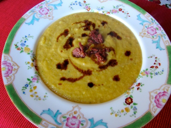 Fava purée topped with sun-dried tomatoes and balsamic vinegar.