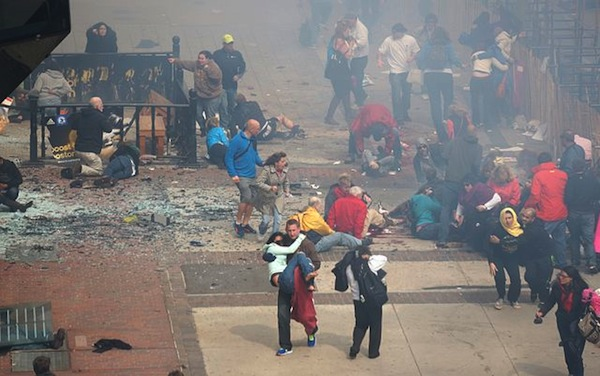 Those injured and those helping after the Boston Marathon bombing.