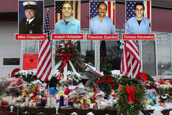 West Webster firemen and impromptu memorial at the fire station.