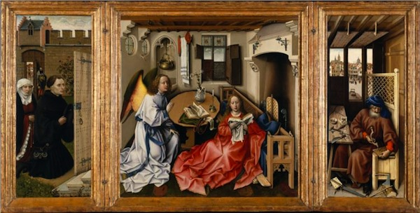 Thomas Campin's Mérode Altarpiece: Jesus sperm in mid-flight, and Joseph's mousetrap.