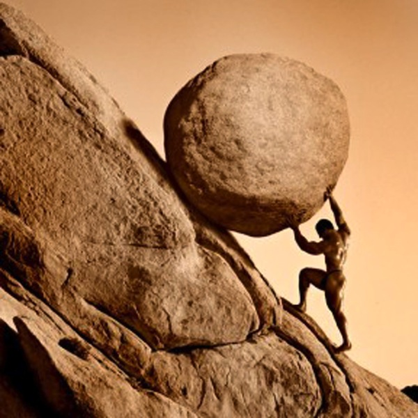 Sisyphus and his absurd companion, the rock.