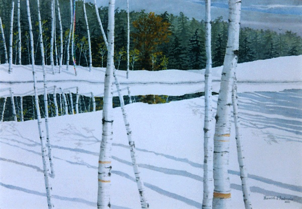 """White Mountains Birches,"" Watercolor, 19.5"" X 27.5"" (2000)."