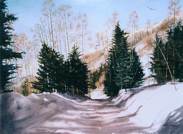"""""""Taos Winter,"""" Watercolor, 21.5"""" X 29.5"""" (2003)."""