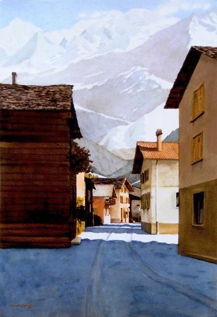 """""""Verségères, Switzerland,"""" Watercolor, 28"""" X 22.5"""" (2000)."""