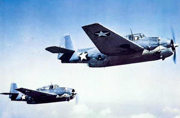 TBM Avengers in flight.