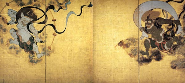 """Wind God and Thunder God,"" by Tawaraya Sōtatsu (俵屋 宗達, c. 1570 – c. 1640)."