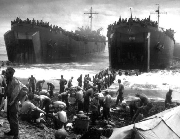 Landing craft at Leyte.