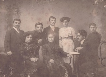 My grandfather, Achileas, my grandmother Eleni, my great-grandmother, Anastasia, my great uncle, Costas (wearing glasses). Behind them, left to right: my great uncle, Nikko, my great uncle, Alexandros, his wife, Penelope, and my great uncle Vassili. The latter four were killed by Bolsheviks.