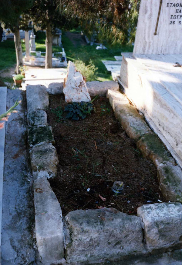 Kevin Andrews' first resting place in Athens' First Cemetery.