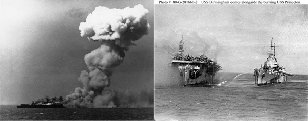 Light Aircraft Carrier Princeton, on fire and being rescued by USS Birmingham on October 24, 1944.