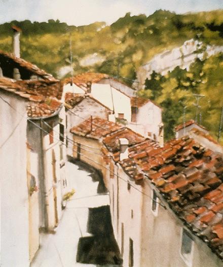 """""""Les Caves De Collias,"""" Watercolor, 21.5"""" x 18"""" (1988)."""