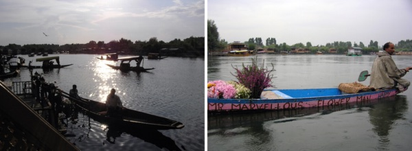 14 Shikaras on Dal Lake, Kashmir valley. 15 Flower seller, Dal Lake.