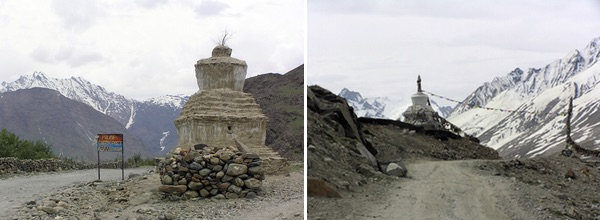 4 Chorten or stupa. 5, Zanskar valley scenery.