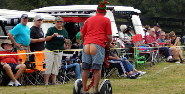 Fake-bare-bottomed rider at The Segue Club Christmas Parade.