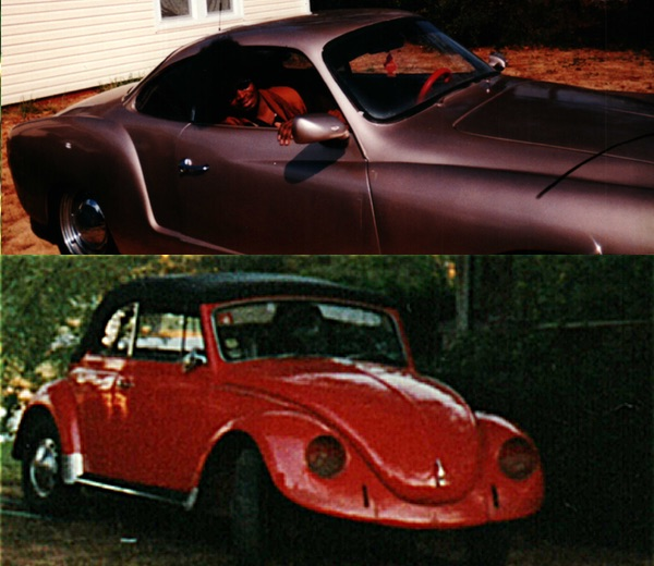 Karmann Ghia and VW Beetle.