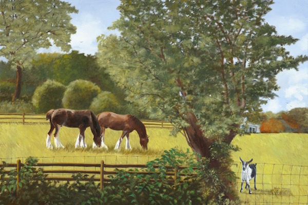"""Young Clydesdales and Friend,"" Oil on Linen, 24"" x 36"" (2015)."