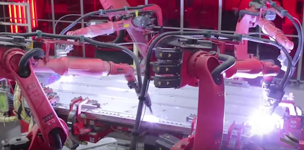 Tesla robots at work