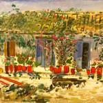 Painting of a Greek cottage, by Panos Feidakis.