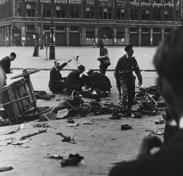 Casualties in Amsterdam, May 7, 1945, after German troops fired on a crowd celebrating the capitulation of occupying forces.