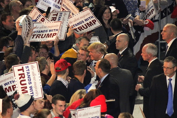 Donald Trump makes a campaign stop at Muscatine Iowa, 24 January 2016.