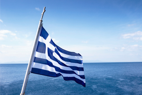 """Γαλανόλευκη,"" or ""Blue-White,"" flying over the Aegean."