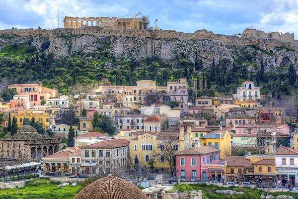 Plaka, beneath the Acropolis.