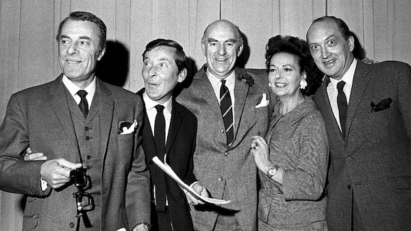 "Caption 2: ""Round The Horn,"" Kenneth Horne, Kenneth Williams, Hugh Paddick, Bill Pertwee, Douglas Smith and Betty Marsden."