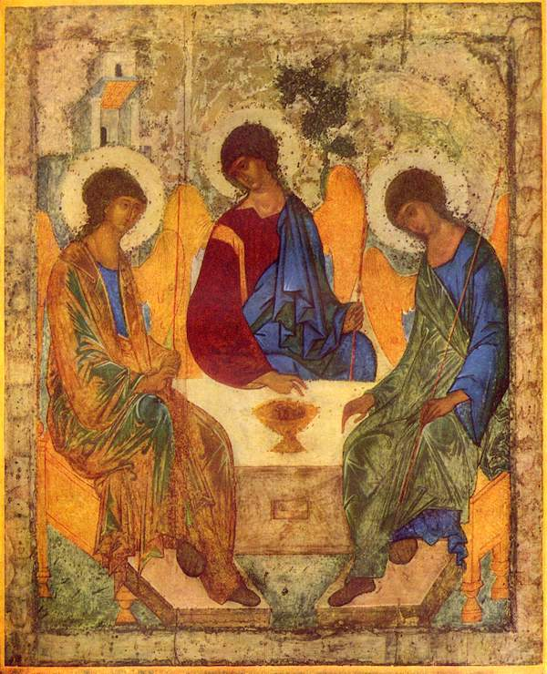 Russian icon of the Old Testament Trinity, by Andrey Rublev, between 1408 and 1425.
