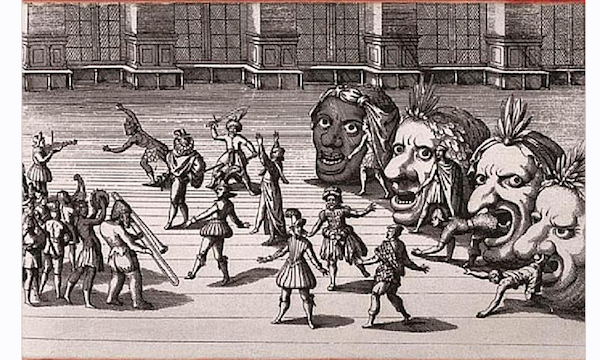 Sketch of a Tudor-era masque performance.