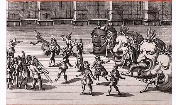 Sketch of a Tudor-era masque performance.
