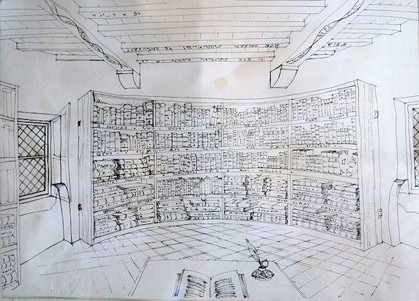 Reconstitution of Montaigne's library in the Château de Montaigne.