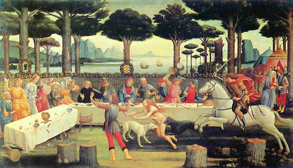 "Sandro Botticelli, ""The Banquet in the Pine Forest,"" illustrating one of the stories in ""The Decameron."""