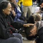 Lakota elder Leonard Crow Dog and Wesley Clark, Jr. during a forgiveness ceremony for veterans. (Photo: Josh Morgan/The Huffington Post)