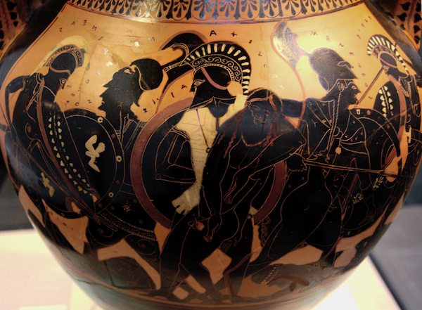 Ajax carrying the body of Achilles from the battlefield.