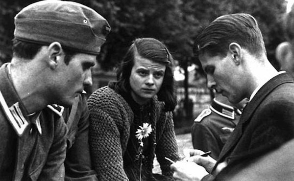 Members of the White Rose resistance group, including Hans Scholl (left) and Sophie Scholl, Munich, 1942.