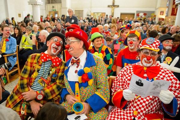 Clowns in church.