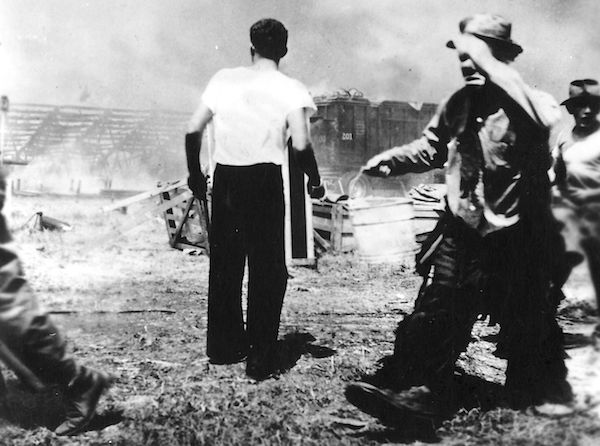 Emmett Kelly at the great circus fire, July 6, 1944.