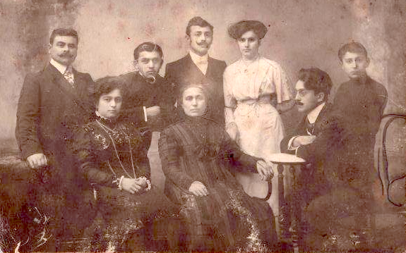 The author's maternal grandmother, in Odessa, Russia, 1915, soon after her marriage. Standing (l to r): Grandfather Achileas, Great Uncle Pavlos, Great Uncle Nikolas, his wife, Caliopi, Great Uncle Alexandros; Seated (l to r) Grandmother Eleni, Great Grandmother Anastasia, and Great Uncle Costas. (Great Grandfather Pavlos had died a few years earlier.)