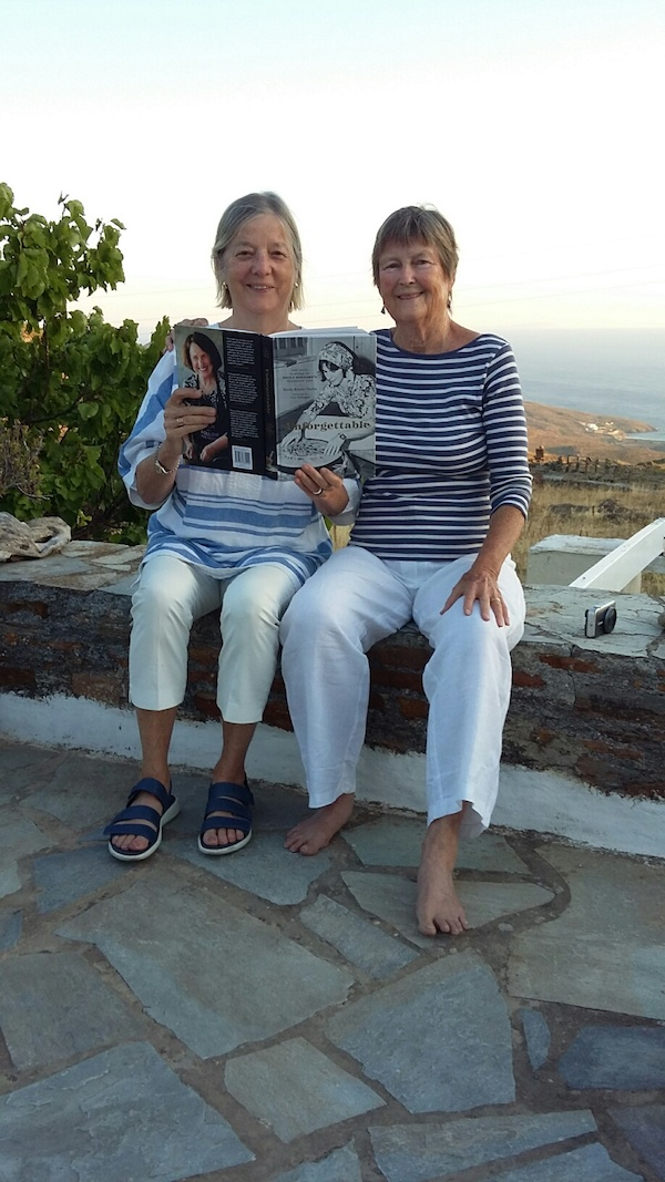 Connie and me posing on our Andros terrace with Unforgettable