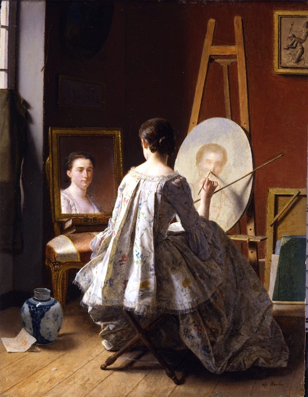 """Portrait of an Artist Painting Her Self Portrait,"" by Jean Alphonse Roehn (1799)."