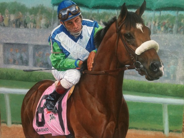 """Barbaro, and Jockey Edgar Prado"" (Painting by Robert Clark)."