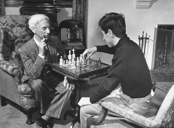 Bertrand Russell and his son, playing chess.