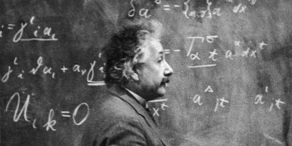 Einstein at the blackboard.
