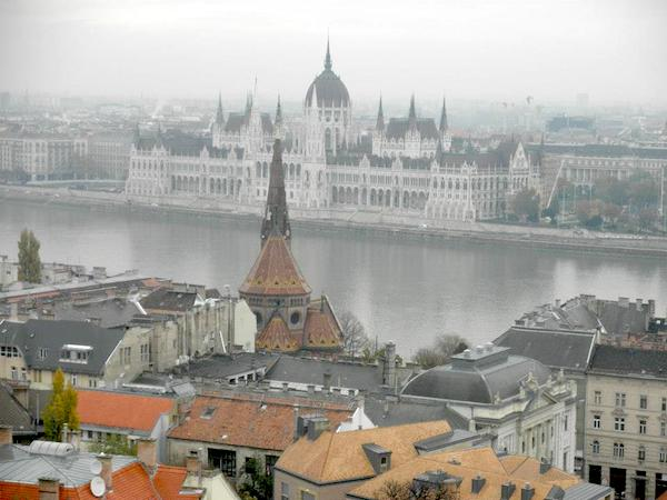 Budapest, the Hungarian Parliament as seen from the Buda Hills. Paddy no doubt witnessed this same view during his sojourn in Buda.