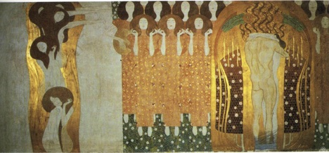 "Gustav Klimt's ""The Beethoven Frieze: The Longing for Happiness Finds Repose in Poetry"" (Right Wall): Note the chorus at center, and the lovers whose legs are bound."