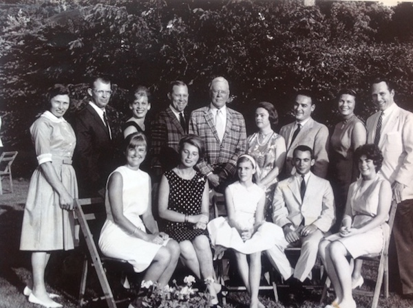The whole Farr clan in 1962: we seven siblings (three with spouses) plus our Italian cousin Anna Paola with her husband Checco. We had gathered for Dad's 70th birthday.